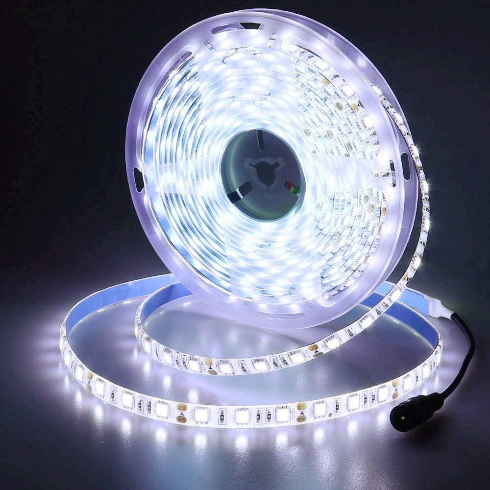 JOYLIT 12V Ruban à LED Blanc froid 6500K, 5 Mètres Flexible 300 LEDs 5050 SMD IP65 Étanche Bande LED