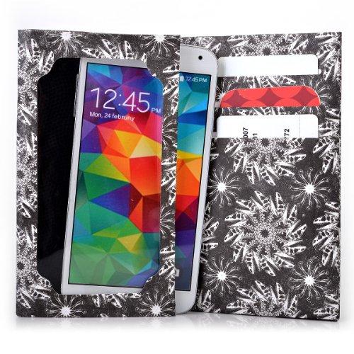 Tyvek Bifold Wallet with Universal Phone Case fits Sony Xperia M2 Cover - BLACK SWIRL. Bonus Ekatomi Screen Cleaner