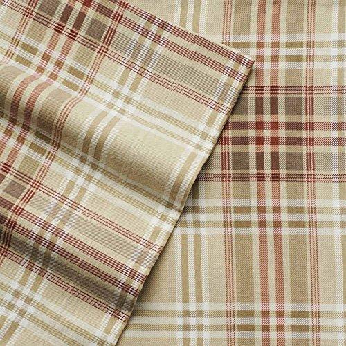 Cuddl Duds Queen Size Heavyweight 4-Piece Flannel Sheet Set, Khaki Plaid