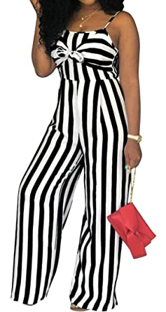 63bdf400bf03 Gnao Womens Sexy Romper Open Back Stylish Striped Wide Leg Pants Playsuits  Jumpsuits Black XS