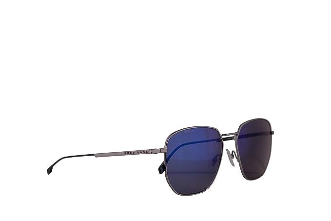 98ac7255df Hugo Boss 0992 F S Sunglasses Matte Grey Electblu w Blue Sky Mirror ...