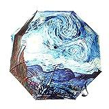 Automatic Umbrella, GLODEALS Oil Painting 3 Folding Parasol Sun Protection Anti-UV Umbrella for Ladies (Starry Night)