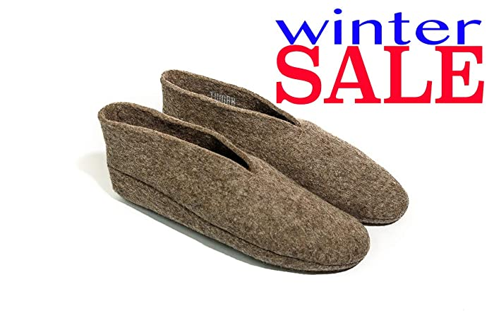4e6c410e596 Women & Men Wool Slippers: Natural Warm and Cozy Felt House & Bedroom  Booties MENS size 10