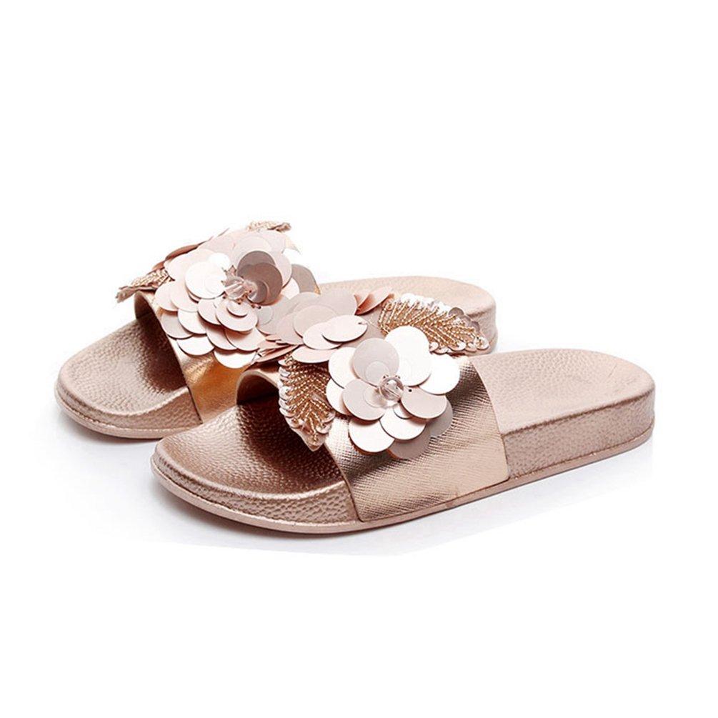 JRenok Damen Blume Open Toe Slide Sandalen Comfort Summer Beach Slip auf Flatform ist Sandale Casual Slipper  38 EU|Rosa