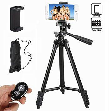 Ibeston - Trípode para teléfono (Aluminio, 106 cm, con Soporte y Bluetooth inalámbrico, para cámara y iPhone, Samsung y Otras Marcas, Color Negro): ...