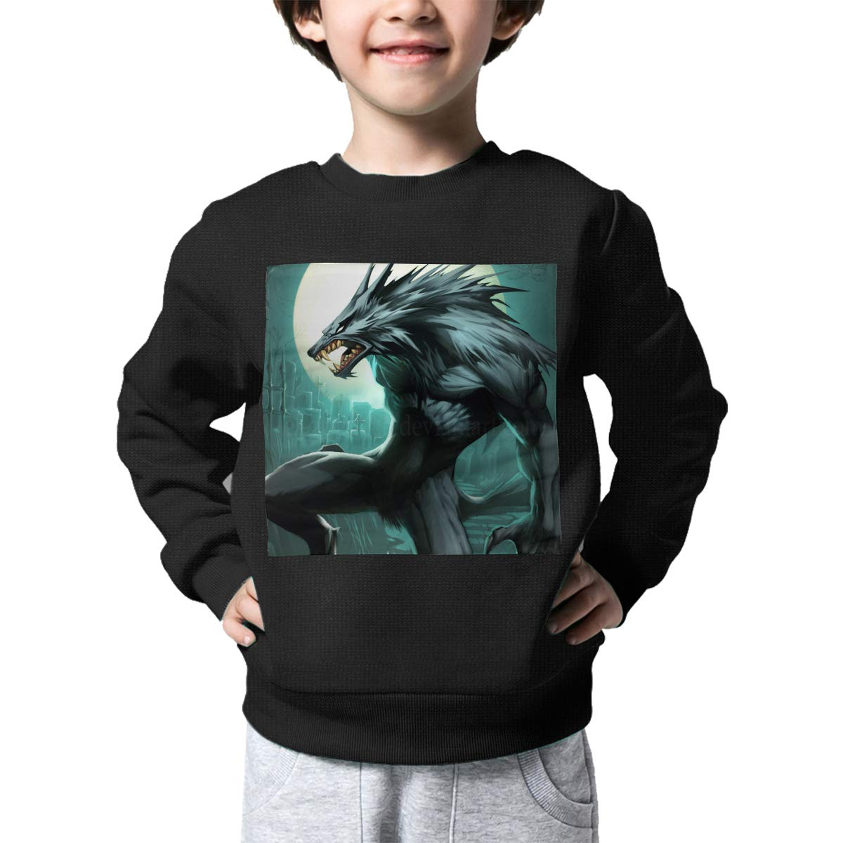BaPaLa Werewolf Kids Pullover Sweater Cute Crew Neck Knitted Sweater for 2-6T