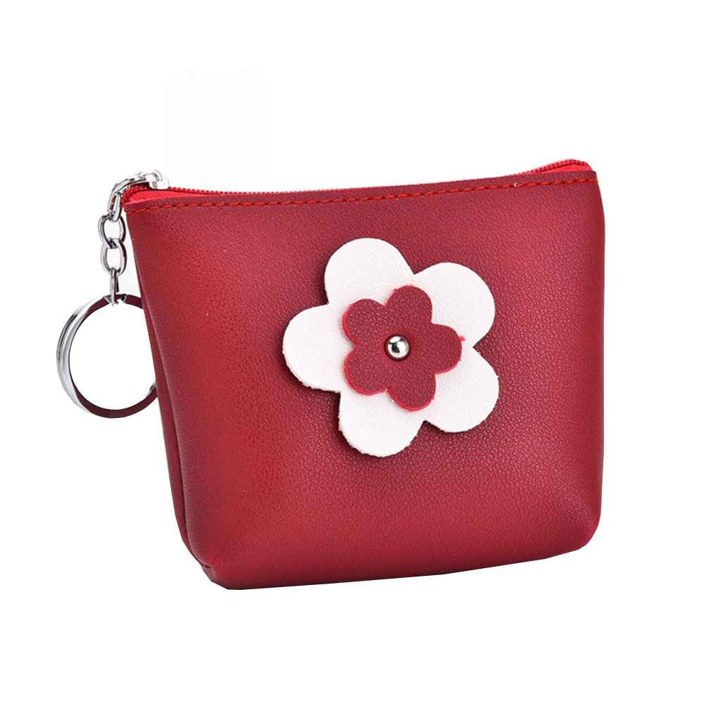 LUFA Women's Sun Flower Pattern PU Leather Coin Purse Small Zipper Wallet Key Card Holder Bag