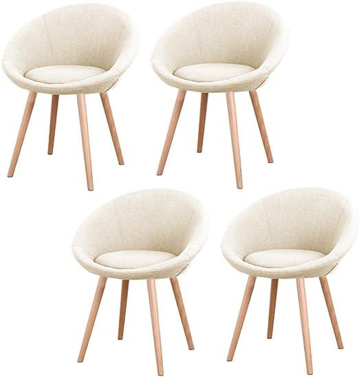 MCTECH® 4x Esszimmerstühle Besucher Stuhl Esszimmerstuhl Wohnzimmerstuhl Stuhlgruppe Konferenzstühle Bürostuhl Stoff Küchenstuhl mit Armlehne (Beige)