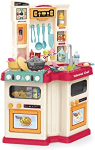 MOMFEI Fun with Friends Kitchen | Large Plastic Play Kitchen with Realistic Water & Sounds | Brown Kids Kitchen Playset & Kitchen Accessories Set