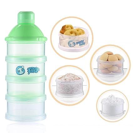 Pawaca - Dispensador de leche en polvo, portátil, contenedor de almacenamiento de aperitivos,