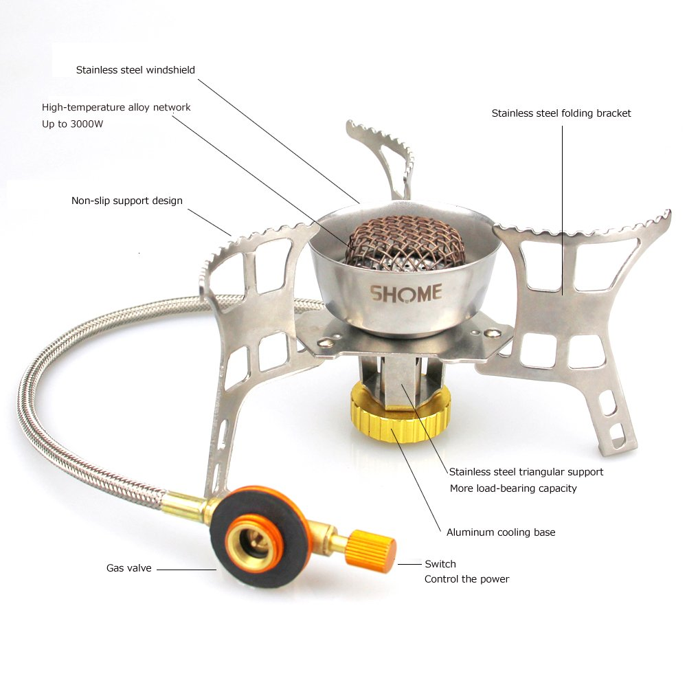 Odoland 3500W Windproof Camping Gas Stove with Gas Adapter Convertor Portable Collapsible Outdoor Camping Stove with Piezo Ignition Backpacking Stove for Outdoor Cooking Hiking Picnic and Trekking