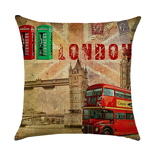 (Hengjiang Vintage British Style Cushion Cover Retro London The Red Phone Box Printing Double-sided 120g Thick Cotton Linen Square Pillowcase 45cm x 45cm(18 x)
