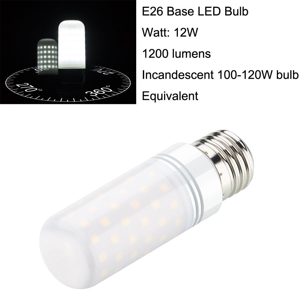 4 Pack 12W 1200 Lumens AC 85~265V Rayhoo E26 E27 LED Light Bulbs Incandescent 100-120W Bulb Equivalent White 6000K