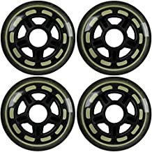 4-Pack of 78a Indoor Inline Hockey Skate Wheels Multi Use 76mm Black/Clear