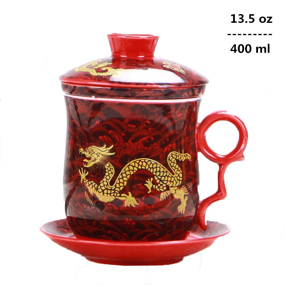 4pcs Set of Chinese Dragon Pattern Tea-Mug with Strainer Infuser and Lid and Saucer Ceramic Tea Mug Convenient System Chinese Porcelain Personal Tea Cup,13.5oz(400ml)/4 Colors (RED) by YURROAD