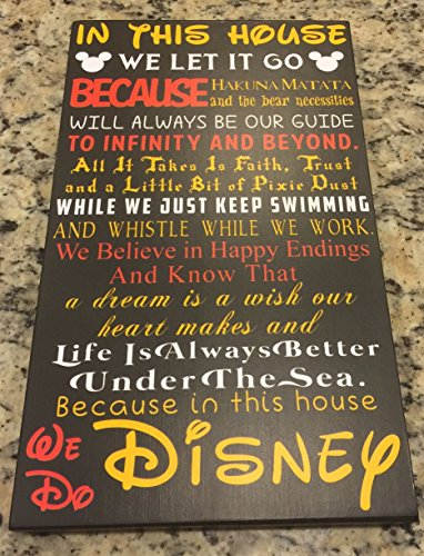 """""""In This House We Do Disney"""" Fairy tale Black background wood sign 9x15"""