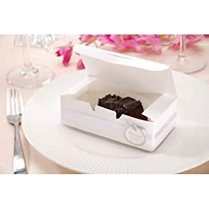 Small Cake Boxes with DOILIES, 24 White Small Cake Boxes and 36 White Lace Paper Doilies for Guest Favor