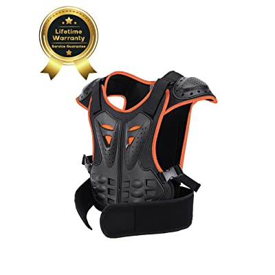 Children Protective Armor Chest Back Spine Protector Kids Motorbike Motorcycle Full Body Armor Vest Youth Protective Riding Biking Vest Jacket Motocross Gear Guard Dirt Bike Safety Armor Protection: Clothing