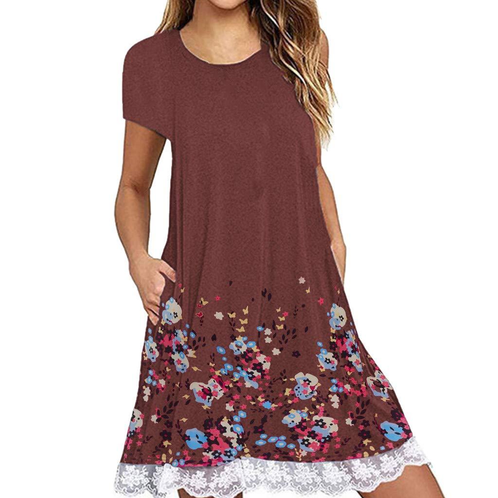 NRUTUP Women O Neck Casual Print Pocket Lace Short Sleeve Mini Dress Loose Party Dress (Brown,M)