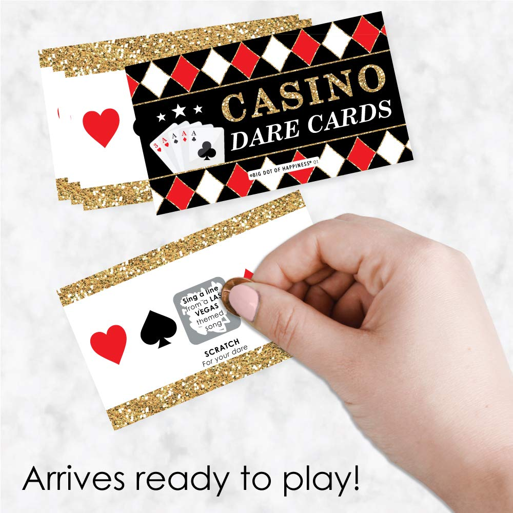 Casino Party Game Scratch Off Dare Cards 22 Count Big Dot of Happiness Las Vegas