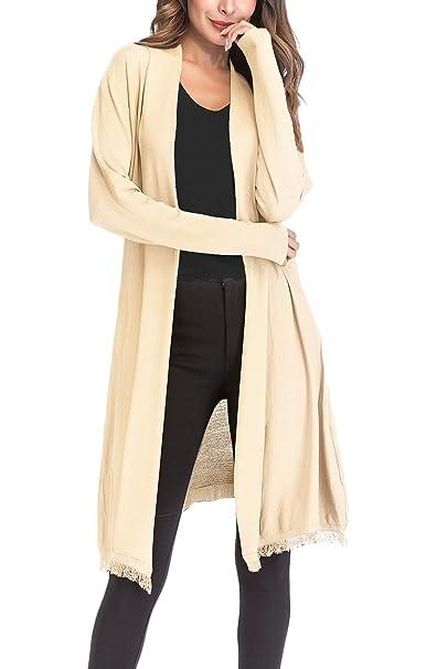 c97d802814a Betrothales Abrigo Punto para Mujer Abrigos Finos Cárdigans Escudo Manga  Larga Borla Protector Solar Y Secciones Largas Abrigo Mujer Informal  Prendas Abrigo ...
