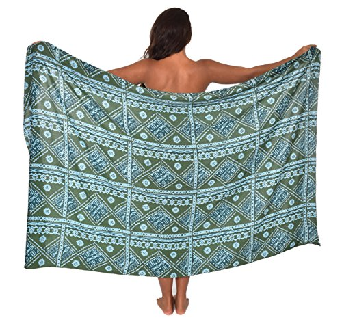 Premium Fiji Tapa Hawaii Sarong Pareo BeachWrap Swimsuit Coverup Seaweed Green/Sky Blue