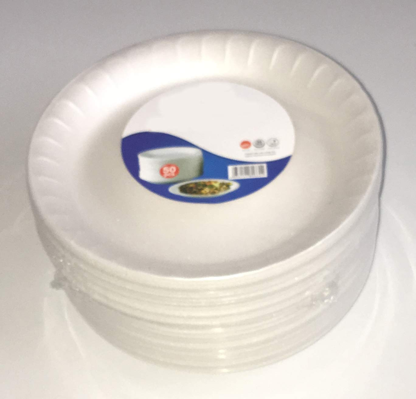 1000 Tezraftaar® White Foam Disposable Plates 9  Small Polystyrene for Food at Parties, BBQ's and Celebrations (1000)