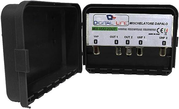 Mezclador de palo 2 UHF 1 VHF 2 salidas sistema Antena ...