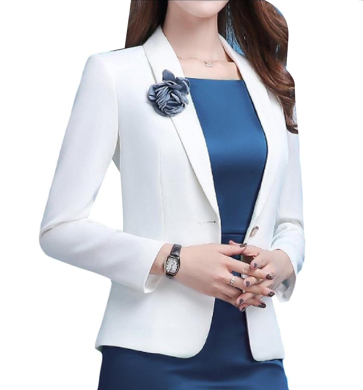 Comfy Womens Elegant Solid Turn-Down Collar Thin Blazer Jacket Coat