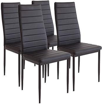 2551MILANO Set de 4 sillas de Comedor Negro