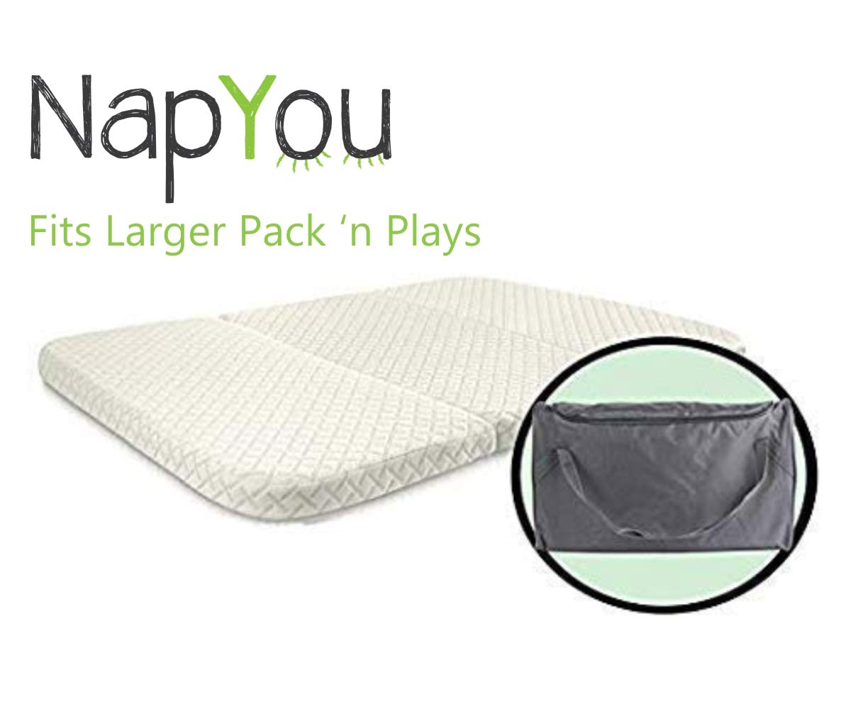 NapYou Amazon Exclusive Pack n Play Mattress, Convenient Fold with Bonus Easy Handle Carry Bag - Large Size 28 inches x 40 inches