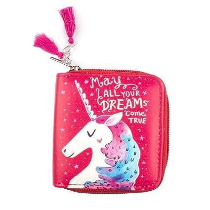 Cartoon Bolsa de cosméticos unicornio patrón cartera moneda Pack cremallera pequeño cero cartera tarjeta bolsa de