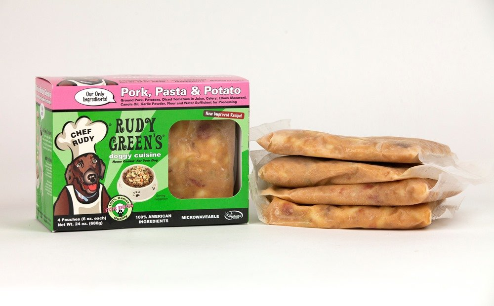 Rudy Greens Doggy Cuisine Home Cooking For Dogs Pork,Pasta and Potato Frozen Human Grade Dog Food 5 Boxes (7.5 lbs Total, 20 Pouches each 6 oz)