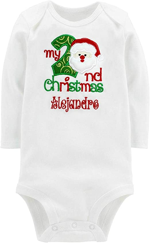 Embroidered Second Christmas Onesie Bodysuit for Baby Boy with Santa\u0027s Face  and Custom Name