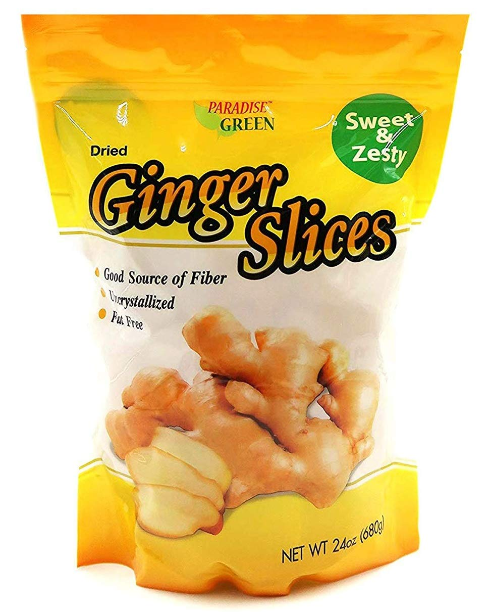 Paradise Green Premium Quality Dried Fruit Family Size Pack (Ginger Slices 24oz)