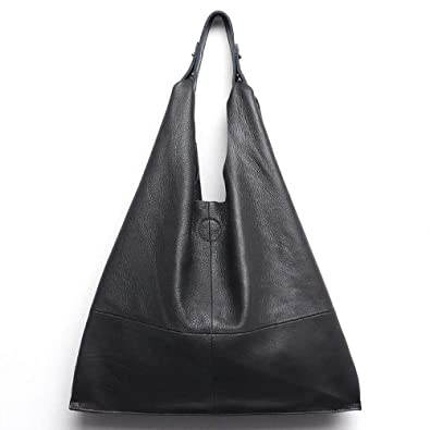 6e5379a3081a Amazon.com  MONFERE Casual Women Hobo Bag Soft Genuine Cow Leather Fashion  Shoulder Bags Female Large Tote Bucket Shopping Handbag Liner Bag Color  DARK ...