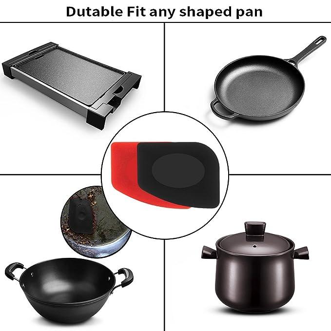 6 Pack Durable sartén parrilla espátula herramienta de juego de plástico y silicona HOT mango soporte para sartenes skillets planchas de hierro fundido: ...