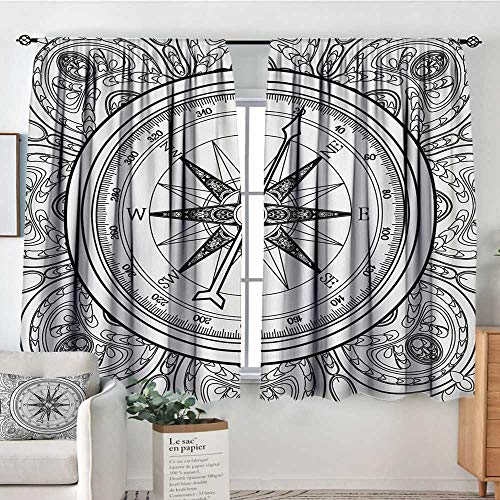 All of better Compass Room Darkening Curtains Hand Drawn Windrose in Line Art Style Nautical Illustration Coloring Book Design Patterned Drape for Glass Door 55