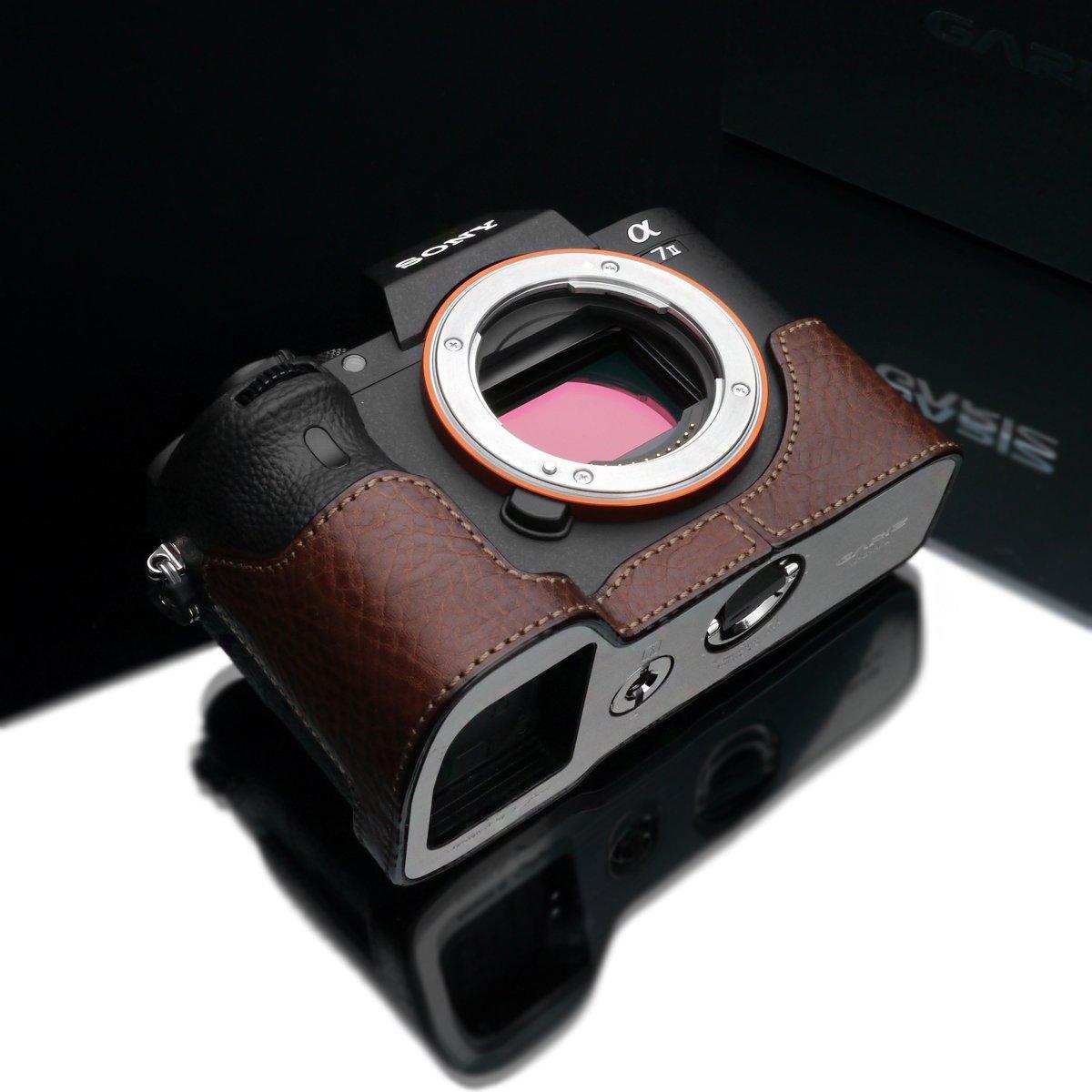 Gariz Genuine Leather XS-CHA7IIBR Camera Metal Half Case for Sony Alpha A7II A7RII Mark 2 Brown