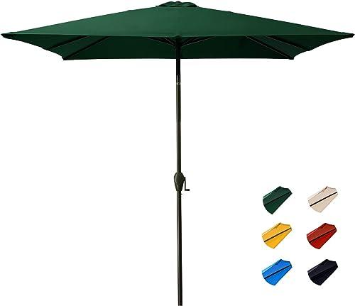 KITADIN Rectangular Patio Umbrella – Outdoor Market Table Umbrellas with Push Button Tilt and Crank Lift,8 Sturdy Square Ribs 7.5 X 7.5 Ft, Dark Green
