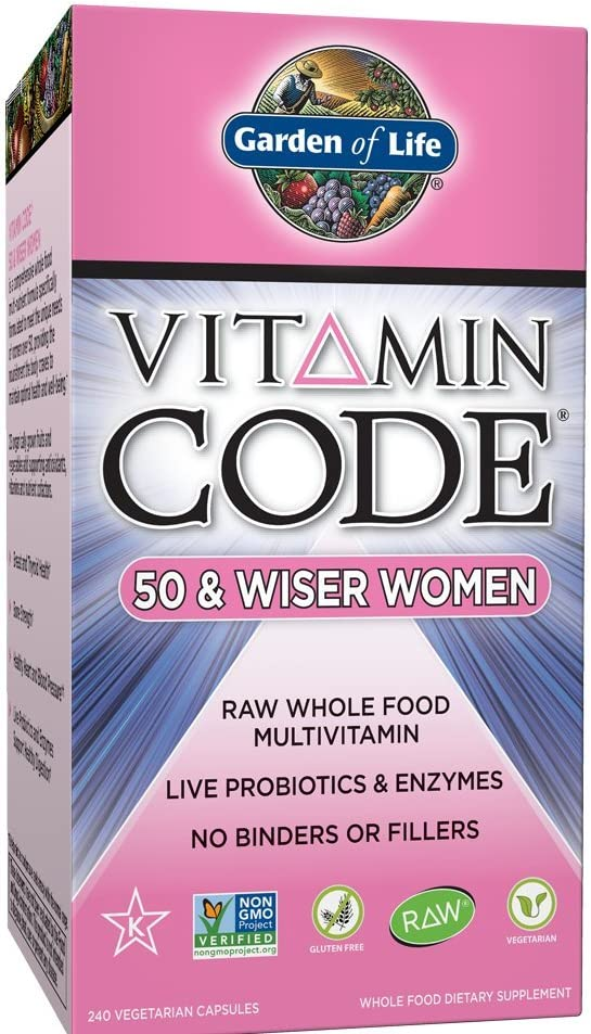 Garden of Life Multivitamin for Women – Vitamin Code 50 Wiser Women s Raw Whole Food Vitamin Supplement with Probiotics, Vegetarian, 240 Count