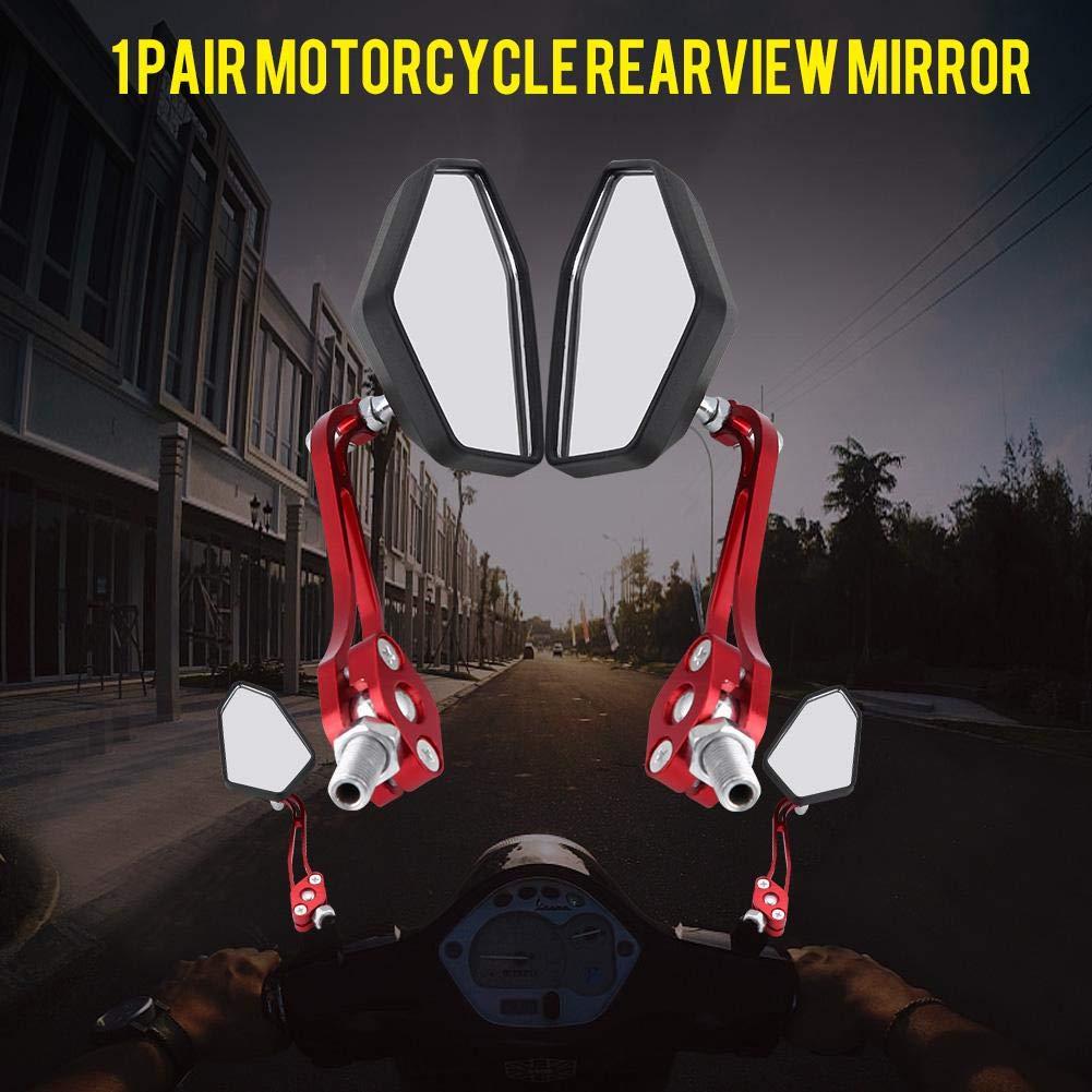 红色 Qiilu Universal One Paire Moto Moto Scooter R/étroviseurs Guidon Miroir R/étroviseurs Lat/éraux