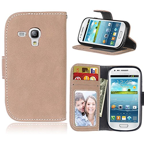 GR for Samsung Galaxy S3 Mini Premium PU Leather Wallet Case Flip Folio Protective Case Cover with Card Slot/Stand Retro Style Solid Color (Color : Beige)