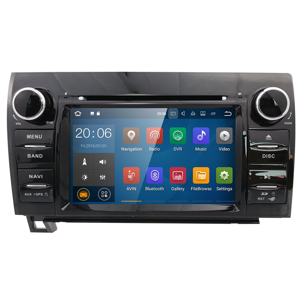 7 Inch Android 7.1 Touch Screen Car Stereo DVD Player In Dash GPS Navigation for 2007-2013 Toyota Tundra/ 2008-2013 Toyota Sequoia Support Bluetooth/Wifi Hotspots/4G/OBD2/DVR/AV-IN