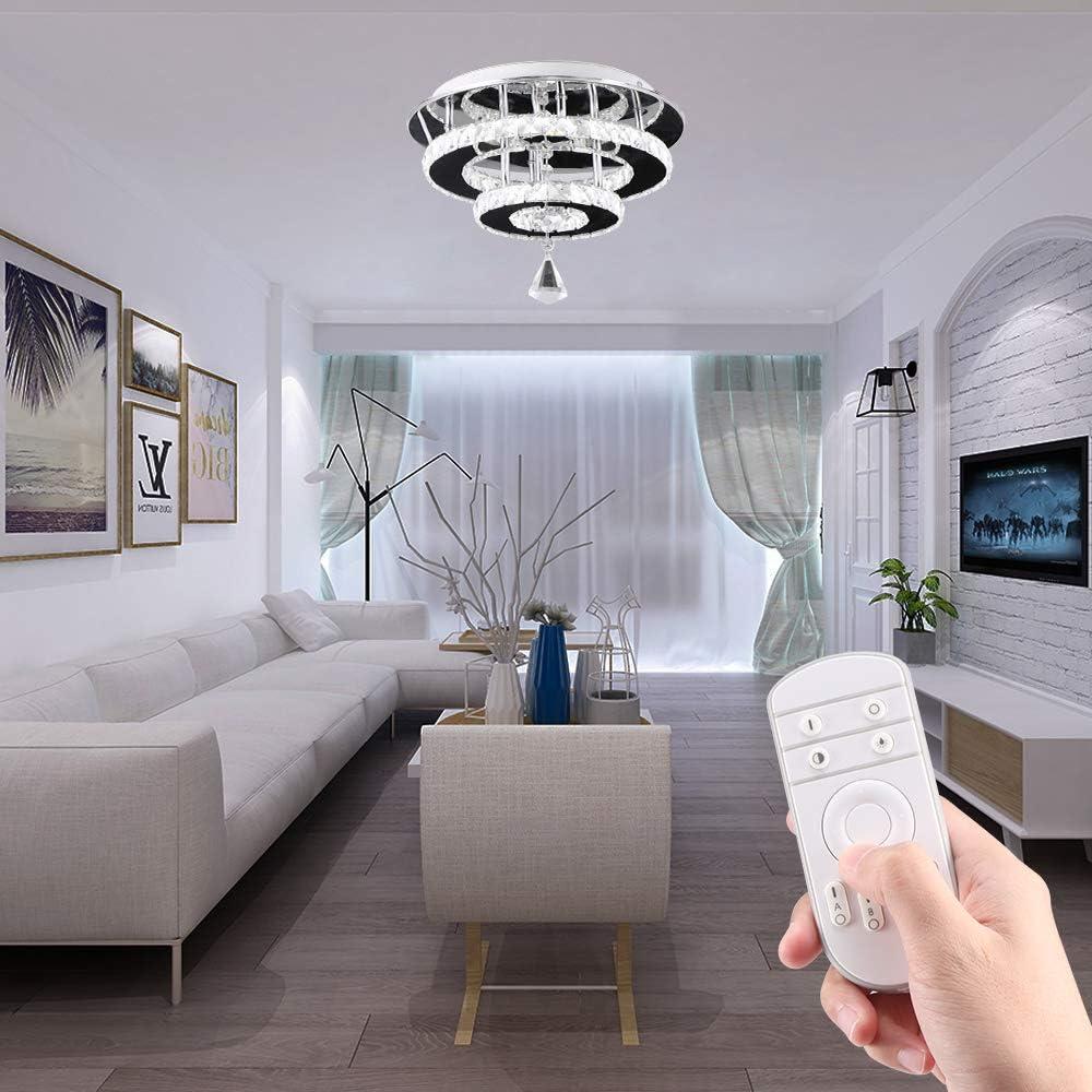 36W // 6500K Blanco Fresco TTAototech L/ámparas de Cristal Moderna del LED luz de Techo Dos Capas de Cristal Montaje embutido Luces Fixture de Comedor Sala de Estar Dormitorio