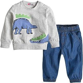 KUKEONON Kids Boys Cotton Cartoon Pullover Sweatshirt+Denim Pants Jeans Set 2pcs