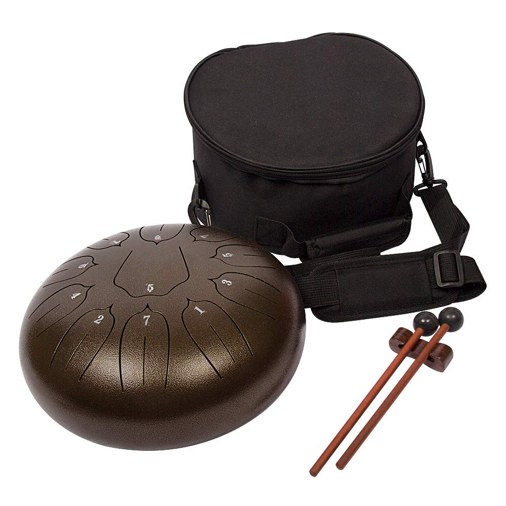Luvay Steel Tongue Drum - 11 Notes 10 inches - Percussion Instrument - with Bag, Book, Mallets, Finger Picks by LUVAY