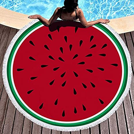 GSYAZTT Fruit Watermelon Beach Towels Round Microfiber Large Bath Towels For Adult Absorbent Beach Towels Napkin