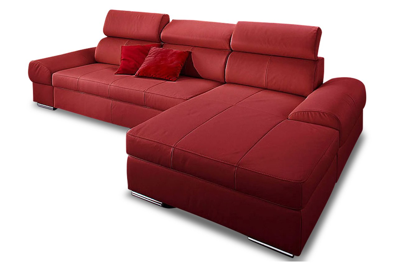 sofa leder ecksofa broadway rot echt leder feuerrot. Black Bedroom Furniture Sets. Home Design Ideas