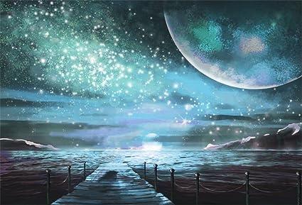 LFEEY 7x5ft Fantasy Galaxy Background Nature Wonder Glistening Silver Stars  Planet Seaside Pier View Space Earth Landscape Milkyway Backdrop Photo